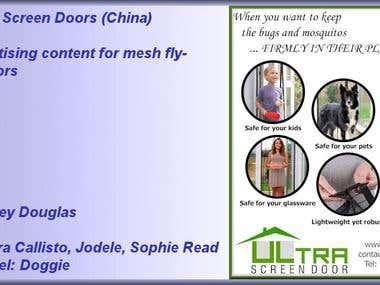 For Ultra Screen Doors (China) freelancer.com member