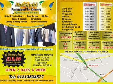 A5 Flyer for Marigold Dry Cleaners