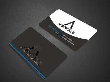 Design  a business card for Acropollis Company.