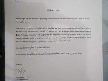 Telenor Pakistan Experience Letter