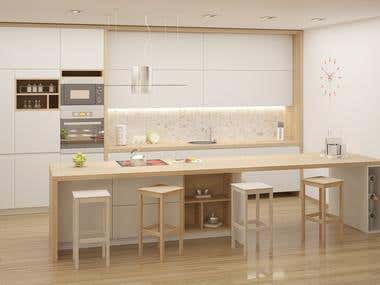 Contemporary kitchen design and render