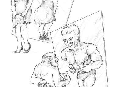 Women & men looking in mirror)