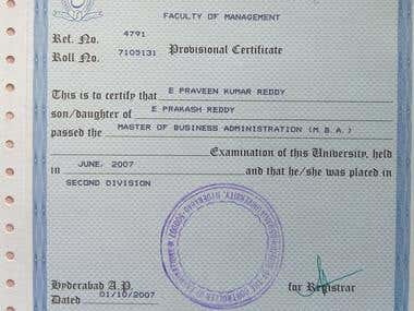 My Educational and Experience certificates