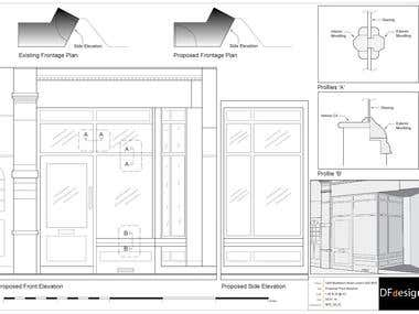 Shop front elevation for planning application proposed