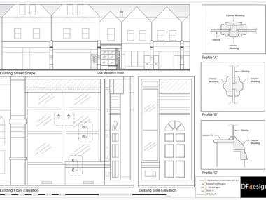 Shop front elevation for planning application