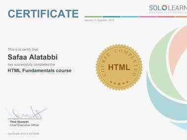 HTML Sololearn Certificate