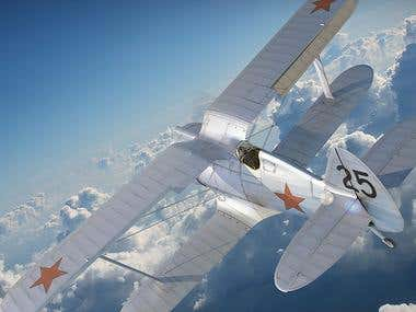 Soviet fighter. Polikarpov I-153/for cinema/for game