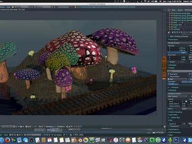 Mushroom forest Scene