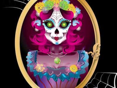 Sugar Skull Vector Illustration