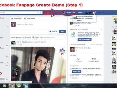 Facebook Fan page create demo