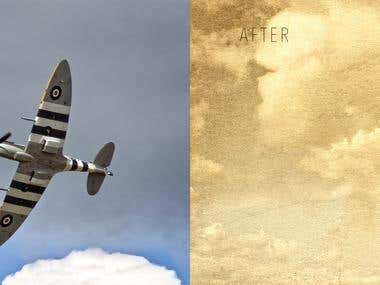Vintage airplane photo and edit