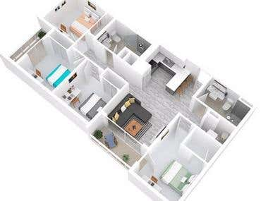 3d & 2d Floor plan