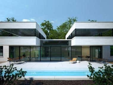 3D exterior hous with a swimming pool