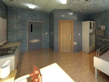 Private Hospital Room - Interior Rendering