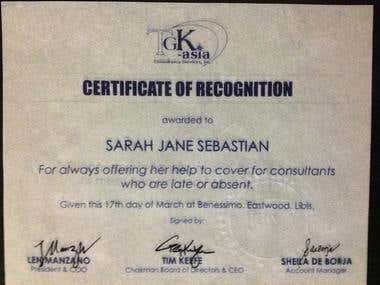 Certificate of Recognition with TGK-Asia