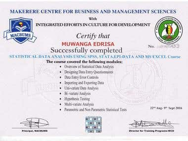 Statistical Data Analysis Certificate
