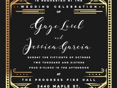 Art Deco Gold Foil Wedding Invitation