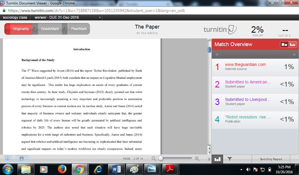 Turnitin report of an academic paper