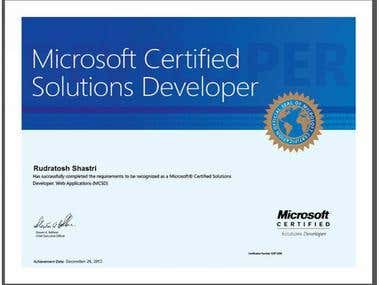 Microsoft Certified Software Developer(Web Applications)