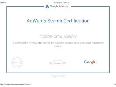 We Are Certified Google Adwords Partner