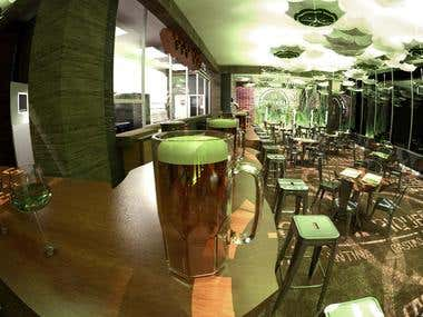 Diseño conceptual y renders de bar