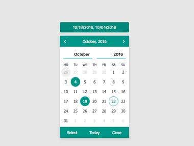 Multi dates select jQuery calendar plugin
