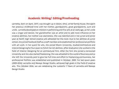 Creative Writing, Editing, Facebook/Linkedin Introduction