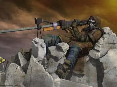 Road Sniper - 2d illustration