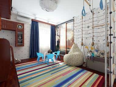 children's room in a nautical theme