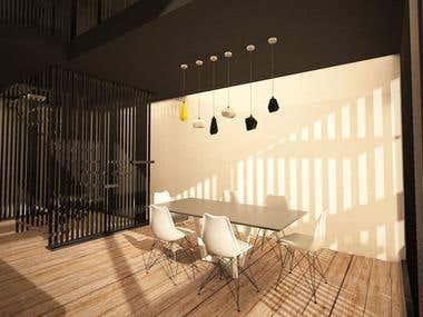 Lounge bar interior design, rendering