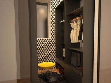 Entry hall, walk- in closet