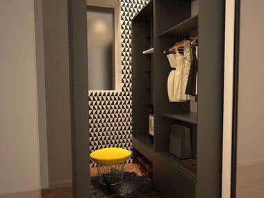 Entry hall, walk- in closet