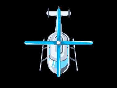 Animated cartoon helicopter for iPhone game
