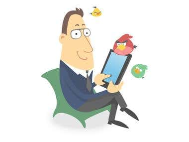 Cartoon guy with internet tablet