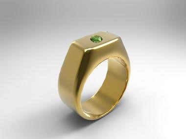 Signet ring 3D modelling and realistic render