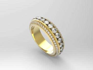 Wedding ring 3D modelling and realistic render