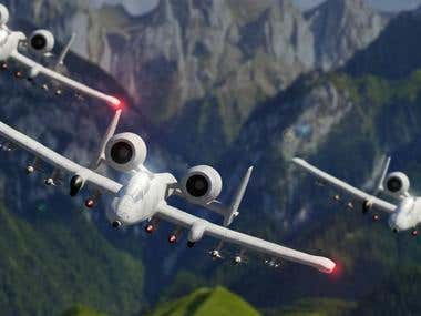 A-10 Thunderbolt in the sky