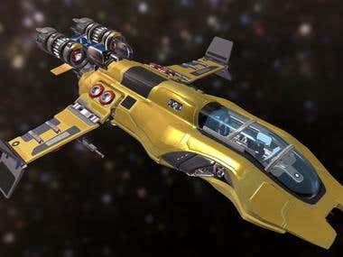 Game model Sci-fi space ship