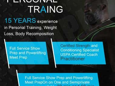 Banner, flyer, sports, gym, personal trainer.