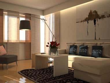 3d modeling and render, interior design concept