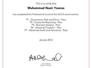 Member of Association of Chartered Certified Accountants