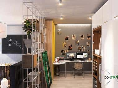 Interior designer workplace with sleep zone