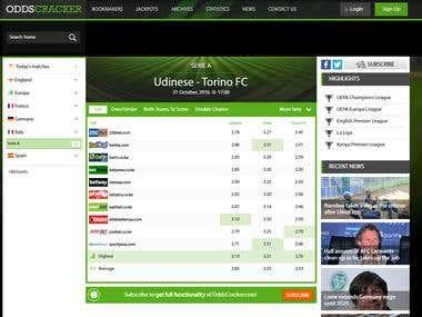 Developing & Design odds comrparison website