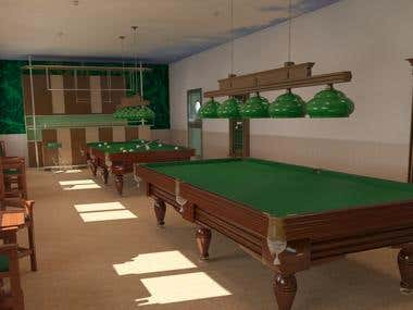 3d model of a billiard hall