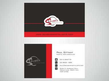Business Card Design for Martial Arts training center