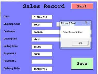 Excel program for reporting for financial balancing, profit