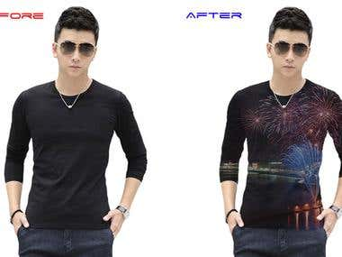 Photoshop image before after (T-Shirt, Car)
