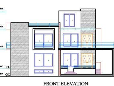 Residential Design and  Elevation Drafted in 2D Autocad