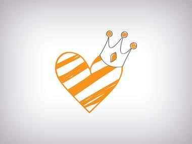Heart Crown Wedding Logo