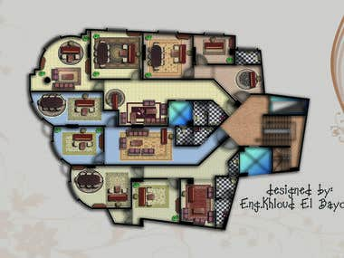 floor plan coloring and furnature of small areas